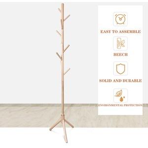 Garderobenständer, Kleiderständer aus Massivholz, freistehende Garderobe in Baumform, mit 8 Haken, für Jacken, Hüte, Taschen, Eingangsbereich, Flur