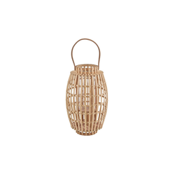 BUTLERS Laterne BAMBOO NIGHTS Laterne mit Henkel 50 cm, Laterne mit Henkel H 50cm - aus Bambus und Glas - Beige