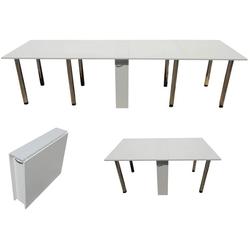 Esstisch ausklappbar bis 300 cm, weiß, rollbar, platzsparend
