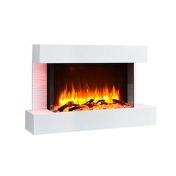 RICHEN Elektrokamin Aidan, RICHEN Elektrokamin Aidan - Wandkamin mit Heizung, 3D-Flammeneffekt & Fernbedienung - Weiß, 632 x 1000 x 240