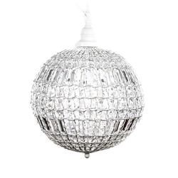 Grafelstein Kronleuchter Kugellampe CRISTAL weiß mit Kristallen Kugelleuchte Hängelampe Kugel