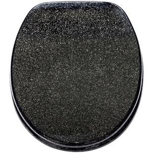 WC Sitz Glitzer Schwarz, hochwertige Oberfläche, einfache Montage, stabile Scharniere