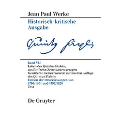 Leben des Quintus Fixlein  aus funfzehn Zettelkästen gezogen. Jean Paul  - Buch