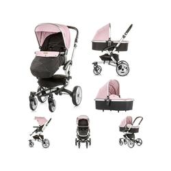 Chipolino Kombi-Kinderwagen Kinderwagen Angel 2 in 1, Babywanne, Sportsitz, Abdeckung, Ledergriff rosa
