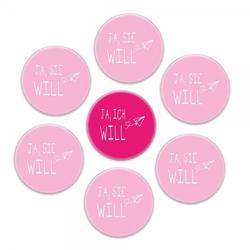 """Buttons SET Junggesellinnenabschied """"JA, ICH WILL"""" (ø 37 mm rund - 7"""