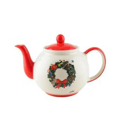 Mila Teekanne Mila Keramik-Teekanne Weihnachtskranz ca. 1,2, 1,2 l