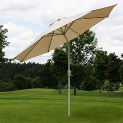 Sonnenschirm Asti, Gartenschirm, Ø 2,7m neigbar Polyester/Alu 5kg ~ creme