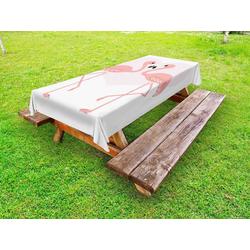 Abakuhaus Tischdecke dekorative waschbare Picknick-Tischdecke, küssen Muster von 2 Flamingo-Vogel 145 cm x 210 cm