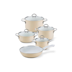 Riess Topf-Set Topf-Set Email 5-teilig CAPPUCCINO, Emaille, (5-tlg), Topfset gelb