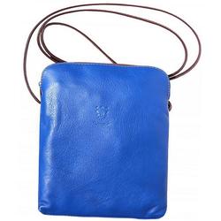 FLORENCE Umhängetasche D2OTF113B Florence Echtleder Damen Handtasche, Damen, Jugend Tasche aus Echtleder in blau, braun, Made-In Italy
