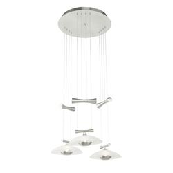Pendel Decken Lampe Hänge Leuchte Beleuchtung Nickel-matt Glas satiniert Höhe verstellbar Eglo 89504