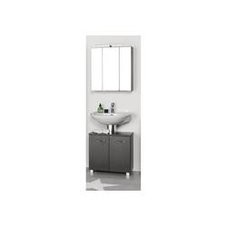 Lomadox Waschbeckenunterschrank BERGAMO-03 Waschbeckenschrank & Spiegelschrank Set, graphitgrau, B x H x T ca.: 60 x 200 x 35cm schwarz