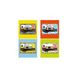 HTI-Line Glasuntersetzer Untersetzer 4-tlg Mixtape, 4-teilig, 4-tlg., Untersetzer