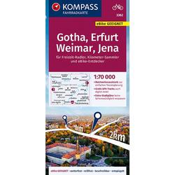 KOMPASS Fahrradkarte Gotha Erfurt Weimar Jena 1:70 000