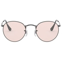 Ray Ban Round Solid Evolve RB3447 gunmetal / pink-violet photochromic