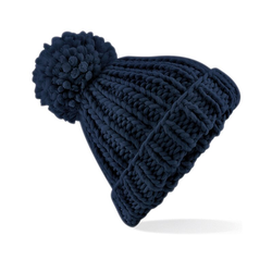 Oversized Hand-Knitted Beanie | Beechfield French Navy