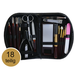 18 tlg Maniküre Set Nagelschere Pediküre Make-Up Reise Nageletui