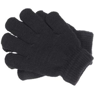 Garneck 1 Paar Winter Strickhandschuhe Outdoor Sport Warme Handschuhe Kinder Vollfinger Vollfarbhandschuhe 4-12 Jahre Alt (Schwarz)