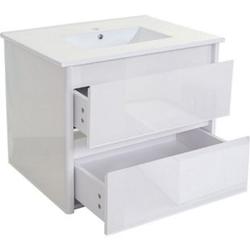 Waschbecken + Unterschrank MCW-B19, Waschbecken Waschtisch Badezimmer, hochglanz 50x80cm ~ weiß