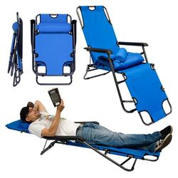 AMANKA Campingstuhl Campingstuhl Liegestuhl Freizeitliege Sonnenliege, Liege incl. Auflage 178cm Blau