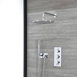 Duschsystem mit Thermostat, 30cm rundem Duschkopf und Handbrauseset – Chrom – Como, von Hudson Reed