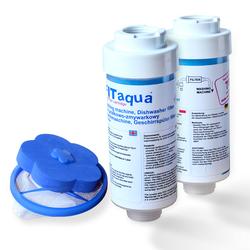 2x FitAqua Wasserfilter für Waschmaschine, Spülmaschine,  Fusselsieb