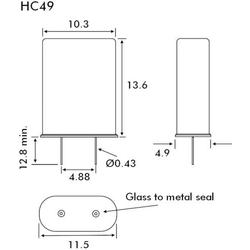 EuroQuartz Quarzkristall QUARZ HC49 HC49 16.384MHz 18pF (L x B x H) 4.9 x 10.3 x 13.6mm