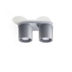 Licht-Erlebnisse Deckenleuchte RODA Deckenlampe Grau rund B:12cm L:26cm 2-flmg vielseitig Küche Esstisch
