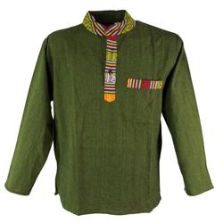 Guru-Shop Hemd & Shirt Nepal Ethno Fischerhemd, Goa Hemd - olive M