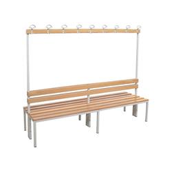 SZ METALL Sitzbank, Doppel-Sitzbank 2 m, mit Hakenleiste-Garderobe 200 cm x 42 cm x 30 cm