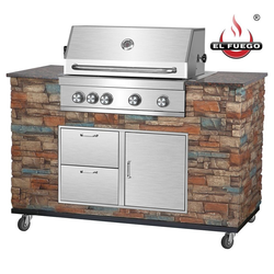 El Fuego Gasgrill, Mit Thermometer, Outdoor Grillküche 4 Brenner + 1 Infrarotbrenner BBQ
