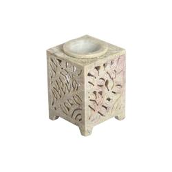 Casa Moro Duftlampe Orientalische Duftlampe Shiva-4 aus Soapstone geschnitzt 8x8x11 cm (B/T/H) ätherisches Öl Diffusor, Teelicht-Halter für Aromatherapie, Handmade Aromalampe, SL4000