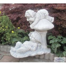 SA-N1529 Zwei Gartenzwerge auf Pilz als niedliche Gartenzwerg Gartendeko Figur 48cm 35kg (Farbe: hellgrau)