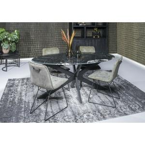 Esszimmertisch Küchentisch Tisch Marble Spider Stahl Marmor schwarz Oval 180 cm