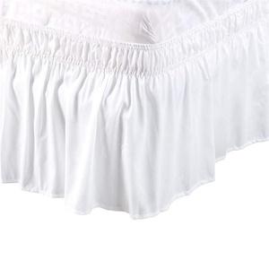 LINGKY Gebürstetem Polyester Bettrock, Abnehmbare DREI Stoffseiten, Elastische Staubrüsche, Easy Fit-Falte - Mit 38 cm Fallhöhe (Weiß,100x190cm)