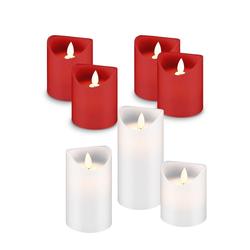 LED Echtwachs-Kerzen im Sparset, 4er Set LED-Kerzen rot und 3er Set LED-Kerzen weiß
