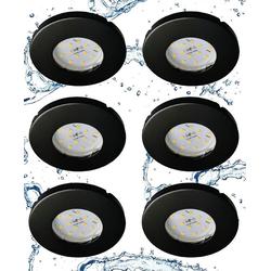 TRANGO LED Einbaustrahler, 6729IP-065MOSD 6er Set IP44 LED Badeinbaustrahler aus Edelstahl in Schwarz Rund incl. 6x Ultra flach 3 Stufen dimmbar LED Modul nur 3cm Einbautiefe für Bad, Außen, Deckenstrahler, Einbauspot
