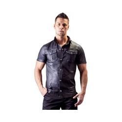 Hemd im Uniform-Style aus Lederimitat