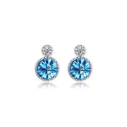 Msova Paar Ohrstecker Blauer Kristall Runde Form 925 Silber ES4863 blau