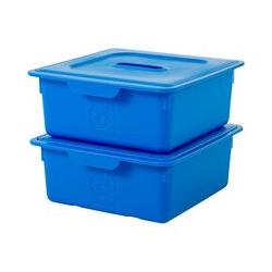 lot de 2 boîtes de rangement pour jouet avec couvercle - Smiley Kids Boxes - KDL-330, bleu marine,