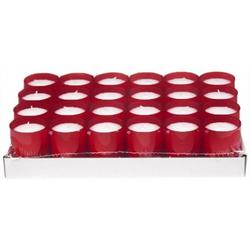 Refill Kerzen / Teelichteinsatz in Rot, Ø50x65 mm, 24 Stück - Brenndauer ca. 24 Std.