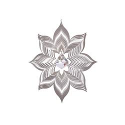 ILLUMINO Windspiel Edelstahl Windspiel Blüte Dalia -XL mit klarer 40mm Kristalldiamant Metall Windspiel für Garten und Wohnung Gartendeko Wohn und Fenster Deko