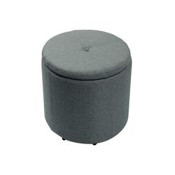 Sitzhocker Ø36 cm x 40 cm grau mit Stauraum Hocker Sitztruhe