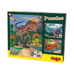 Haba Puzzle HABA 303377 Puzzles - 3 x 24 Teile - Dinosaurier, Puzzleteile
