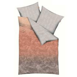 Kaeppel Satin Bettwäsche Marbling Streifen Auqa Zimt 155x220 cm + 80x80 cm Zimt