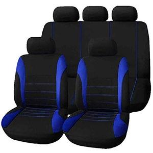 Outbit Autositzbezüge - 1 Satz mit 9 Teilen Universelle Autositzbezüge, vordere hintere Kopfstützen, komplette Sätze Wasserdichte Autositzbezüge. (Blau, Grau und Rot) (Farbe : Blau)