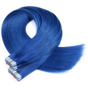 Tape In - On Hair Extensions - # BLUE - 70cm - 40 Tressen je 4cm Breit/2,5g - 100% Remy Echthaar Haarverlängerung/Extention mit Klebeband Tressen by NOVON Hair Extentions