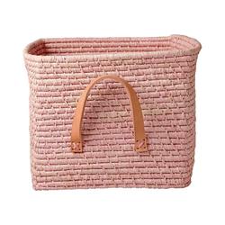rice Dekokorb Bastkorb mit Leder-Henkel 30x30x25 cm rosa