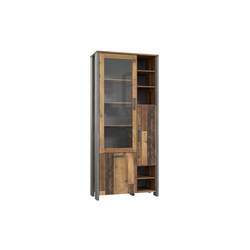 Forte Highboard-Vitrine Clif in Old Wood Vintage-Optik