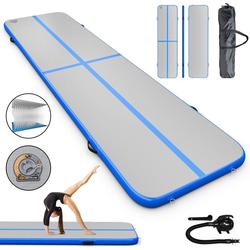 COSTWAY Gymnastikmatte 300 x 100 cm Air Track, Yogamatte blau 100 cm x 400 cm x 10 cm